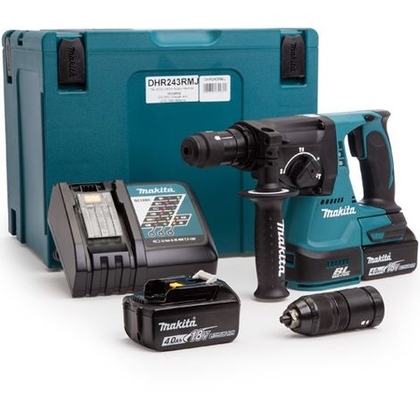 Makita DHR243RMJ 18V SDS+ Brushless Hammer Drill 24mm 2 x 4Ah Batteries