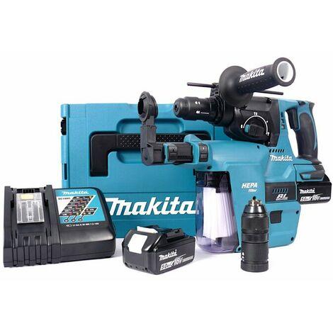 Makita DHR243RTJV Set marteau perforateur SDS-plus à batteries (2 x 5.0Ah) 18V dans MAKPAC avec extraction mandrin rechangeable inclu.