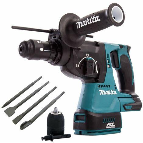 Makita DHR243Z 18V Brushless Hammer Drill & 4 Piece Chisel Set + Keyless Chuck