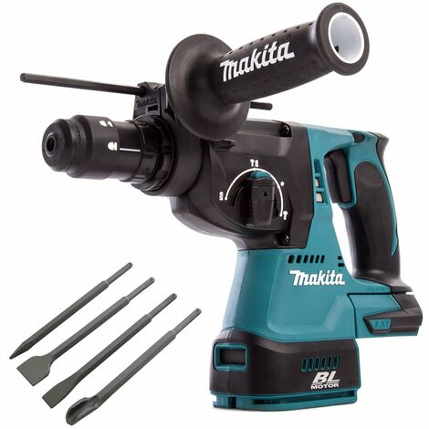 Makita DHR243Z 18V SDS+ Brushless 24mm Rotary Hammer Drill & 4 Piece Chisel Set