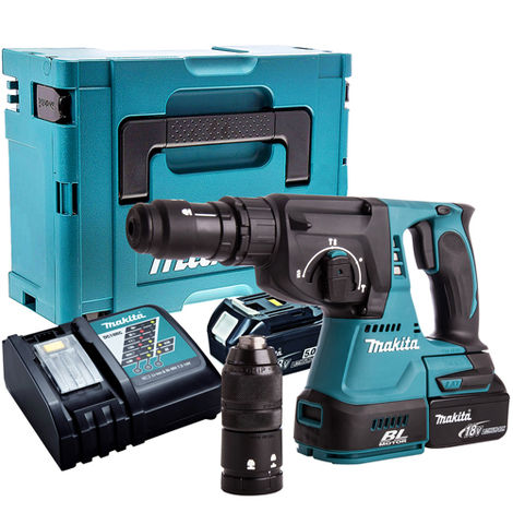 Makita DHR243Z 18V SDS+ Brushless Hammer Drill with 2 x 5.0Ah Batteries & Charger in Case:18V