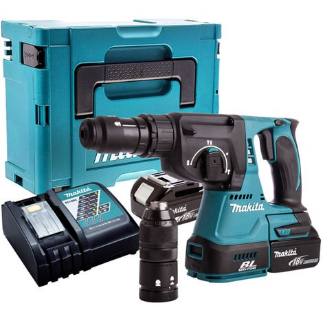 Makita DHR243Z Brushless SDS+ Hammer Drill with 2 x 4.0Ah Battery & Charger in Case