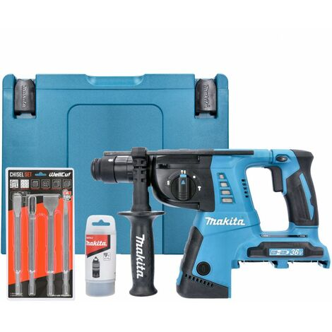 Makita DHR264ZJ 18V Twin SDS+ Hammer Drill in Makpac With 4 Piece SDS Chisel Set