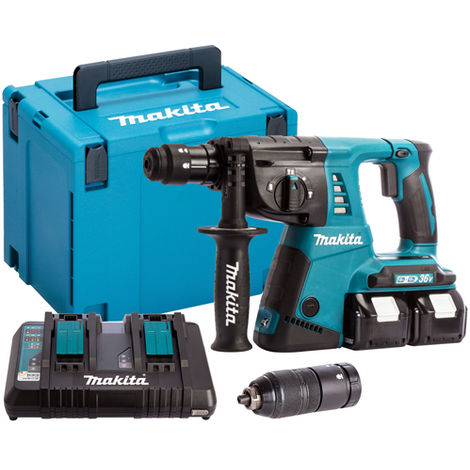 Makita DHR264ZJ 36V SDS+ Rotary Hammer Drill with 2 x 5.0Ah Batteries & Charger in Case