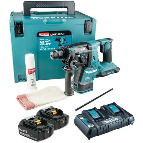 Makita DHR280PT2J 36v / 2x 18v LXT Twin SDS Brushless Hammer Drill AVT 2x 5.0ah
