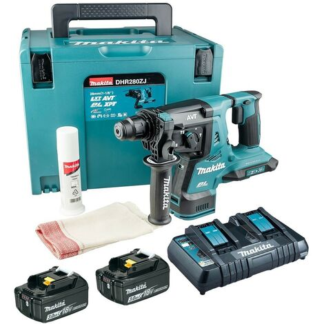 Makita DHR280RT2J 36v / 2x 18v LXT Twin SDS Brushless Hammer Drill AVT 2x 3.0ah
