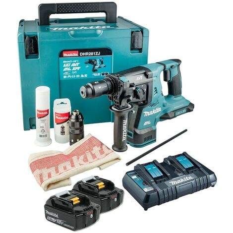 Makita DHR281PT2J 36v / 18v LXT Twin SDS Brushless Hammer Drill AVT + 2x 5.0ah