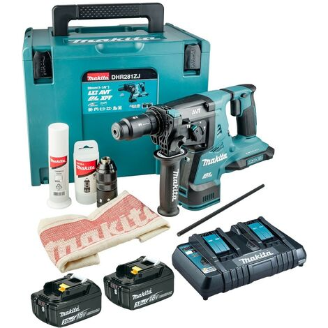Makita DHR281RT2J 36v / 18v LXT Twin SDS Brushless Hammer Drill AVT + 2x 3.0ah