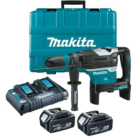 Makita DHR400PT2U Twin 18v / 36v LXT Brushless 40mm SDS Max Rotary Hammer 2x 5ah