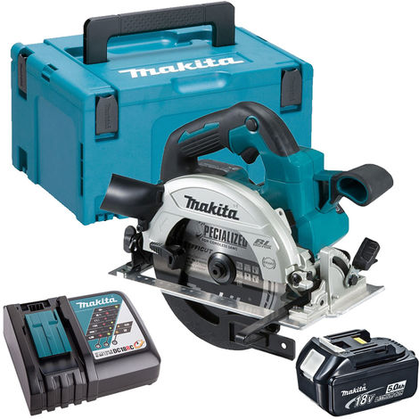 Makita DHS660Z 18V Brushless Circular Saw with 1 x 5.0Ah Battery Charger & Case:18V