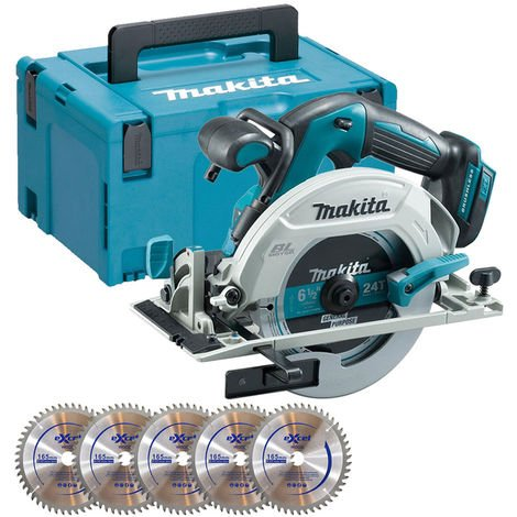 Makita DHS680Z 18V Brushless Circular Saw With Case + Inlay + 5 x 165mm Blades