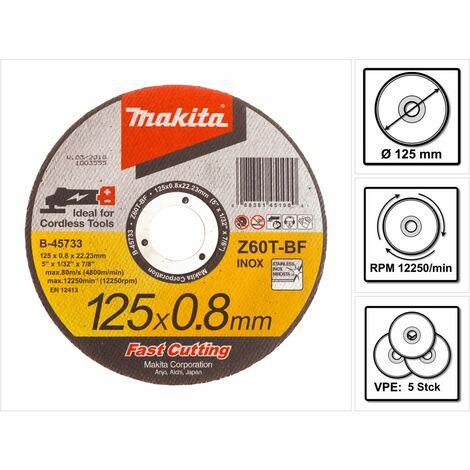 Makita Disques à tronçonner métal et INOX pour meuleuses sans fil Fast Cutting - 5 pièces 125 x 0,8 x 22,23 mm ( B-45733 )