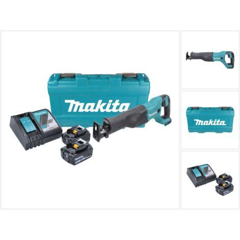 Makita DJR 186 RTK 18 V Li-Ion Scie récipro sans fil avec Boîtier de transport + 2x BL 1850 5,0 Ah Batterie + DC 18 RC Chargeur Rapide