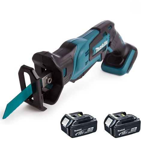 Makita DJR185Z 18V Cordless Mini Reciprocating Saw With 2 x 5.0Ah Batteries:18V