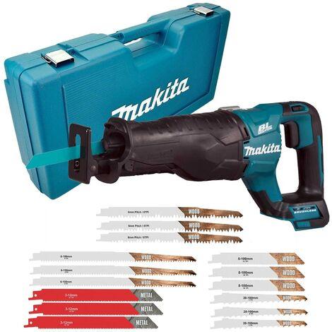 Makita DJR187Z 18v LXT Brushless Reciprocating Sabre Saw Bare Unit + Case Blades