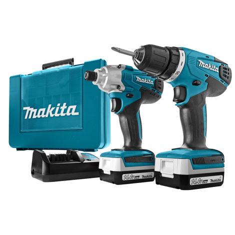 Makita DK1497 14.4V taladro/atornillador (DF347) y juego de Atornillador de impacto (TD126) ( 2x baterías1.3Ah) en maletín