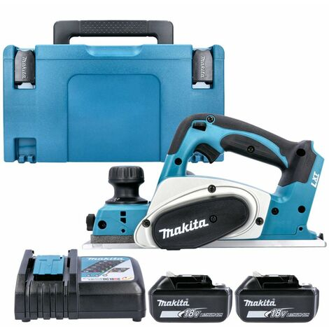 Makita DKP180 18V LXT Cordless 82mm Planer With 2 x 5.0Ah Batteries, Charger, Case & Inlay
