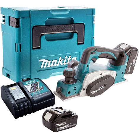 Makita DKP180Z 18V 82mm Planer with 2 x 4.0Ah Batteries and Charger in Case