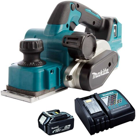 Makita DKP181Z 18V Li-ion Brushless 82mm Planer with 1 x 5.0Ah Battery & Charger