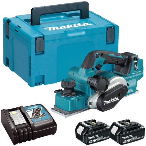 Makita DKP181Z 18V LXT Brushless Planer with 2 x 4.0Ah Batteries Charger & Case