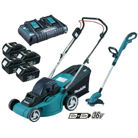 Makita DLM380PF4 18v 36v Cordless Lawn Mower + DUR181 Grass Trimmer + 4 x 3.0ah