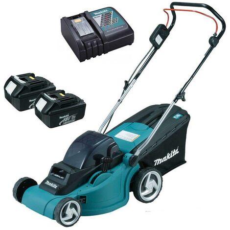 Makita DLM380RFE 18v 36v LXT Cordless Lawn Mower + 2 x 3.0ah Batteries + Charger