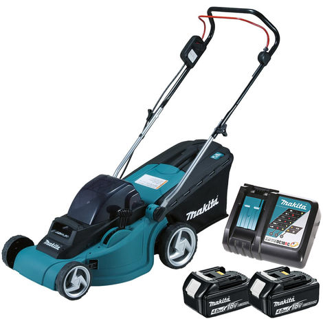 Makita DLM380Z 18V Twin Lawn Mower with 2 x 4.0Ah Batteries & DC18RC Charger:18V