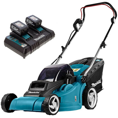 Makita DLM382PGA2 Twin 18v 38mm Lawn Mower Body Only With 2 x 6ah And Twin Charger