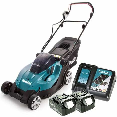 Makita DLM431 18V Twin LXT Lawn Mower 430mm With 2 x 6.0Ah Batteries & Charger