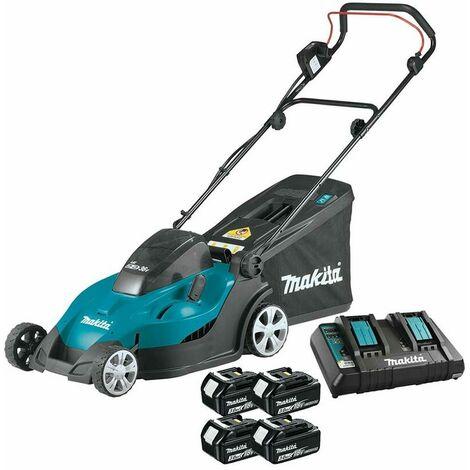Makita DLM431PF4 Twin 18v 43cm Lawn Mower with 4 x 3.0Ah Batteries