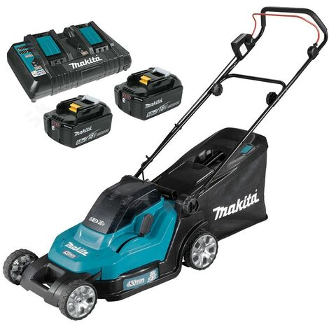 Makita DLM432 Twin 18v / 36v LXT Cordless 43cm Lawn Mower Soft Start 2 x 5AH