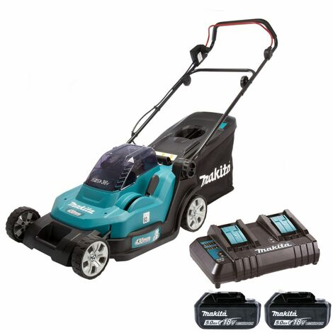 Makita DLM432CT2 Twin 18V LXT 430mm Lawn Mower With 2 x 5.0Ah Batteries & Twin Port Charger