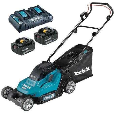 Makita DLM432PG2 Twin 18v / 36v LXT Cordless 43cm Lawn Mower Soft Start 2 x 6AH