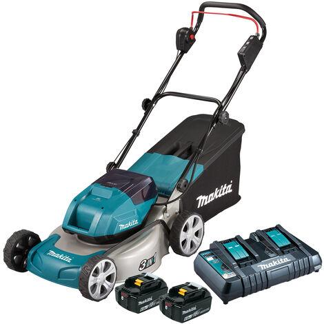 Makita DLM460PG2 18V/36V 460mm Lawn Mower with 2 x 6.0Ah Batteries & Twin Port Charger:18V