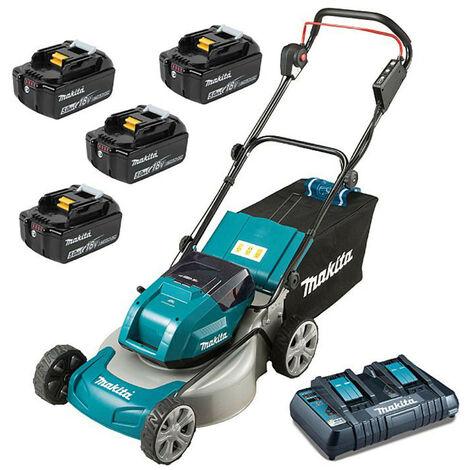 Makita DLM460PT-4 Twin 18V Brushless Lawn Mower 4x 5Ah Batteries