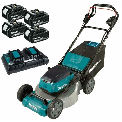 Makita DLM462PT4 Twin 18V Brushless Lawnmower with 4x 5.0Ah Batteries