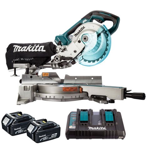 Makita DLS714NZ 36V Brushless 190mm Slide Compound Mitre Saw with 2 x 4.0Ah Batteries & Charger