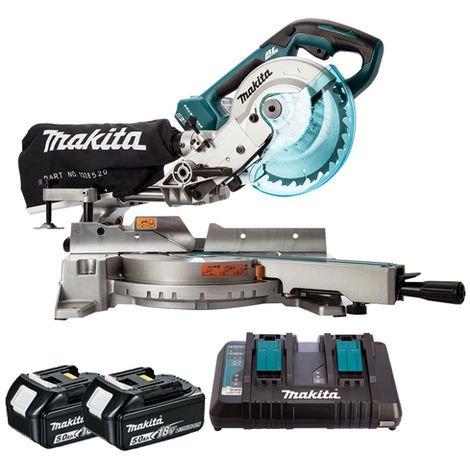 Makita DLS714NZ 36V Brushless 190mm Slide Mitre Saw with 2 x 5.0Ah Batteries & Twin Port Charger