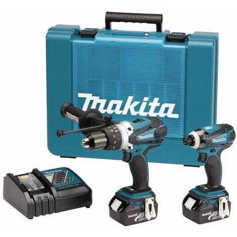 Makita DLX2005 18V Litio-Ion batería Taladro combinado (DHP458) & Atornillador de impacto (DTD146) juego combinado (2x baterías de 3.0 amperios) en maletín