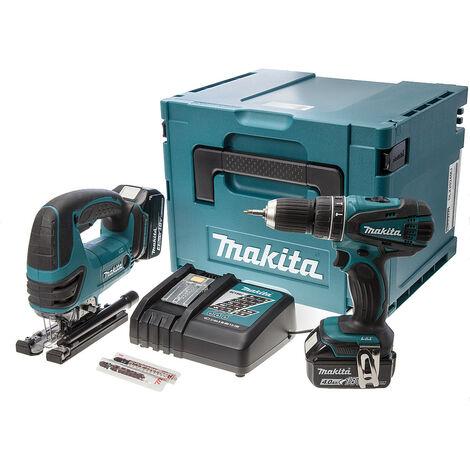 Makita DLX2024MJ Combi Drill DHP456 and Jigsaw Cordless DJV180 Twinpack