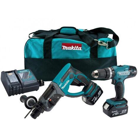 Makita DLX2025M Perceuse visseuse à percussion (DHP453) & Perfo-burineur SDS (DHR202) à batteries 18V Li-Ion (2x batterie 4.0Ah) dans sac