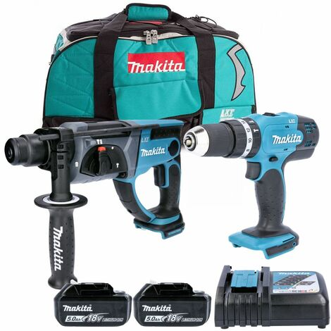 Makita DLX2025T 18V Combi & SDS Hammer Drill Twin Pack With 2 x 5Ah Batteries, Charger & LXT400 Bag