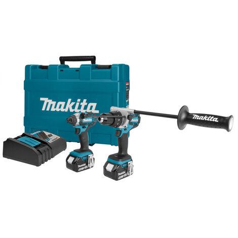 Makita DLX2054M Perceuse à percussion (DHP481) & Visseuse à chocs (DTD146) à batteries 18V Li-Ion combiset (2x batterie 4.0Ah) dans coffret