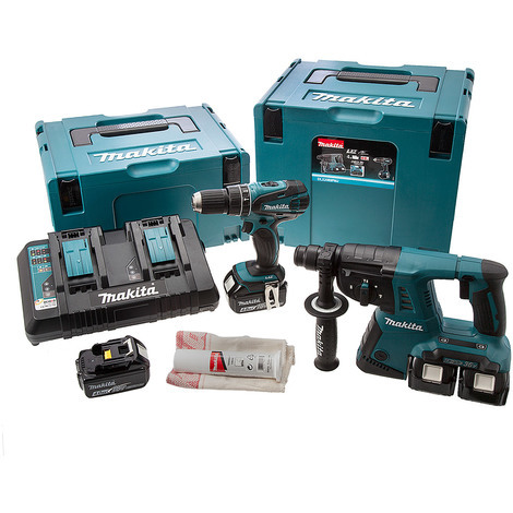 makita dlx2069pmj 18v cordless kit with dhp456 combi drill. Black Bedroom Furniture Sets. Home Design Ideas
