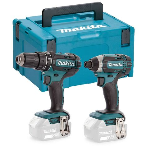 "main image of ""Makita DLX2131 18v Twin Pack DHP482Z Combi Drill Impact Driver DTD152Z + Makpac"""