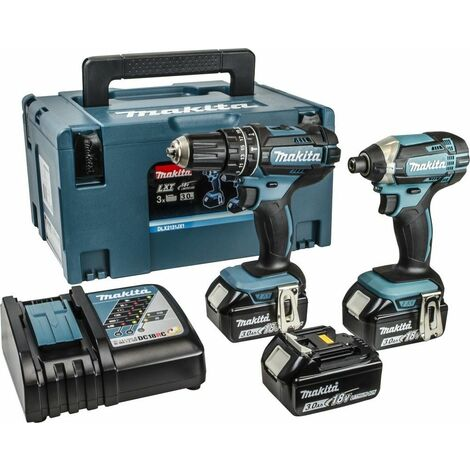 Makita DLX2131JX1 18V Li-Ion batería Taladro combinado (DHP482) & atornillador de impacto (DTD152) set combinado (con 3x baterías 3.0Ah ) en Mbox