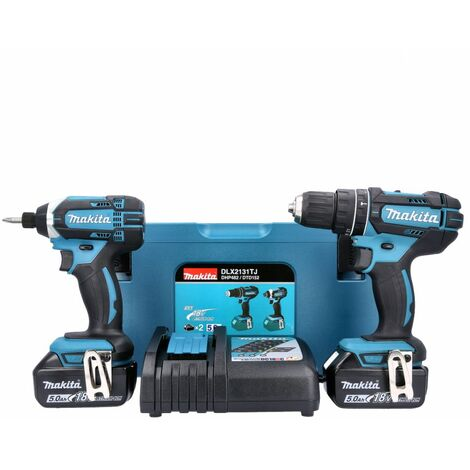 Makita DLX2131TJ 18V Combi & Impact Driver Twin Pack With 2 x 5.0Ah Batteries, Charger & Case