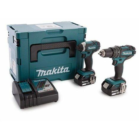 Makita DLX2131TJ 18V Litio-Ion batería Juego combinado de taladro de impacto / destornillador (DHP482) y destornillador de impacto (DTD152) (2 baterías de 5.0Ah) en Mbox