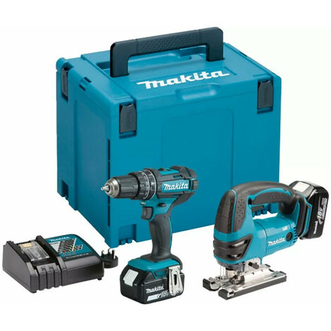 Makita DLX2134MJ 18V LXT Combi Drill and Jigsaw Kit with 2x 4Ah Batteries