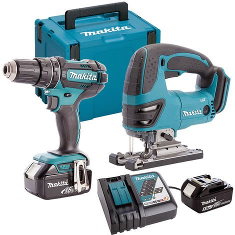 Makita DLX2134TJ 18V Combi Drill & Jigsaw Twin Pack with 2 x 5.0Ah Batteries & Charger in Case:18V